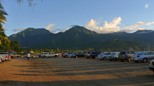Clear evening sky above Kauai's mountains