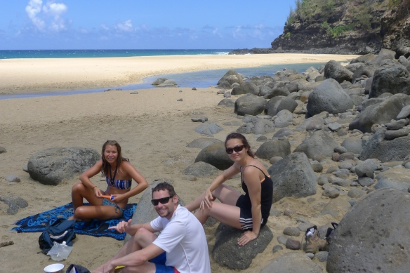 We picnic at Hanakapiai beach, 2 miles into our 4 mile hike to the Hanakapiai falls. Time to consume some of those provisions we stocked up on the first day...