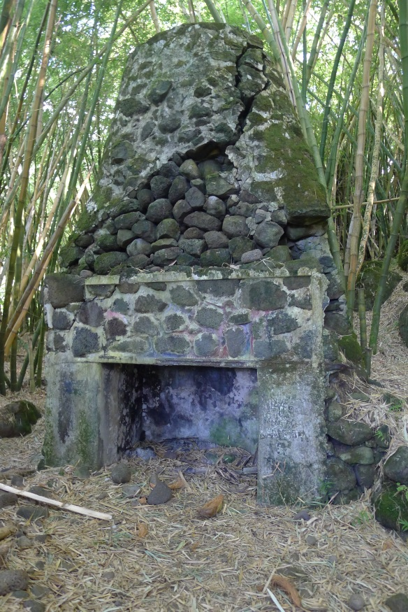 """... like this ancient-looking fireplace, part of which seemed to be built out of rocks old Hawaiians used to enforce their taro terraces. For a moment we imagined who could live in a bamboo-grove living room, with a lava rock fireplace and what kind of photos they would put on the mantle. """"Auntie Pele on vacation in Kauai"""" or maybe """"Grandma  Poli'ahu snowboarding,"""" or """"Uncle Kāmohoaliʻi going for a swim"""" .... *smirk*"""