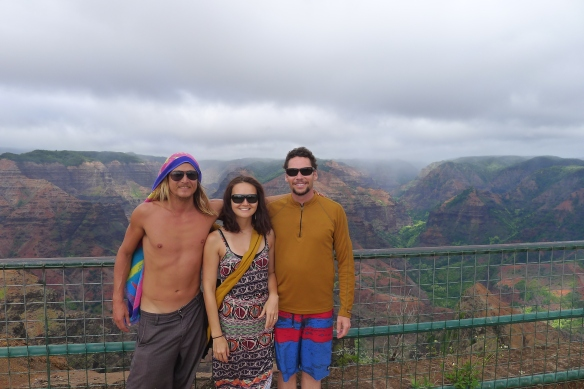 The clouds are gathering above us and when we finally drive out to the Kalalau lookout, it's shrouded in fog.