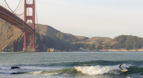 The fact that you can surf under the Golden Gate Bridge (ok, it's a twice a year thing at best, but it's worth the wait...)