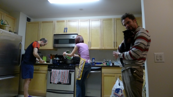Our wonderful hosts, hard at cooking a delicious vegetarian dinner on our first night in New York.
