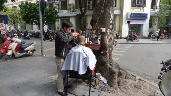 Impromptu barber shops pop up on every street corner; much like impromptu restaurants and cafes