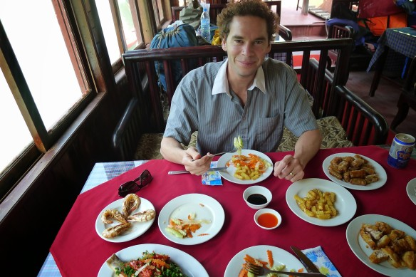 A typically modest meal on the boat - just a few tens of dishes and every single one was polished clean by the end