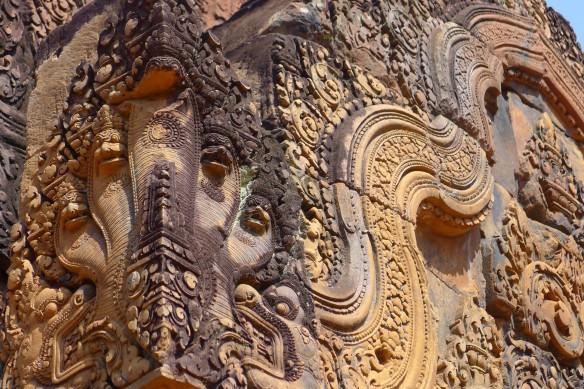 Fine details of cornerstones  at Banteai Srey