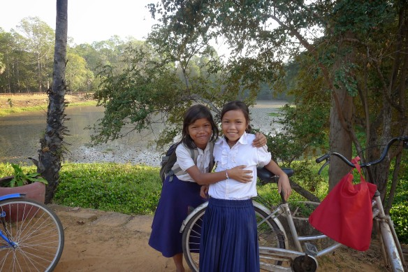 Schoolgirls were delighted to pose for us