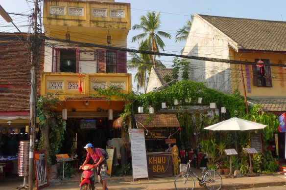 The Khmu is one of Laos' largest minority ethnic groups. Many of the cheaper spas in Luang Prabang were sporting signs boasting Khmu massages. This is a pretty typical look for Prabang storefronts: lush and exotic, but also inviting.