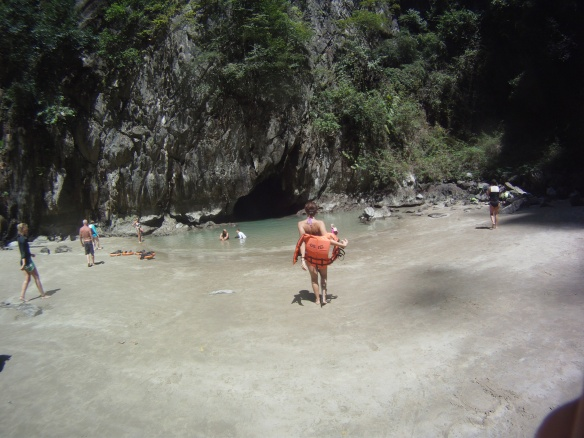 """A gopro pic of the secret cove that we reached after swimming through a pitch-black cave; unsurprisingly, this cove served as a hiding spot for pirates on the Andaman sea. In fact, i think they have a picture of this place in the dictionary next to the definition of """"Pirate Cove"""""""