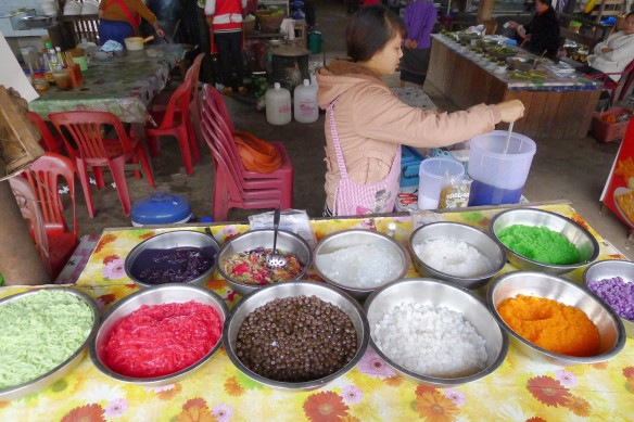 Various jelly and soy-based deserts sold in the market at Nam Tha. If you're wondering, they're chewy and not overly sweet and come in a little plastic bag with a straw.