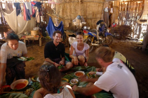Our first lunch of the trek, in a Khmu village house