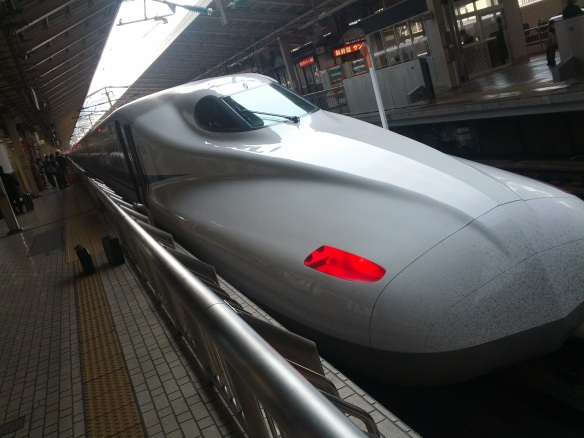 The trains! Yes, oh, yes - those trains, those beautiful, unsullied white trains that carry you across the land at 300 km/hr, noiseless, smooth, impeccably clean and timely to the second.