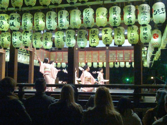 More kimonos, this time in action at the spring festival dance in Kyoto's temple district.